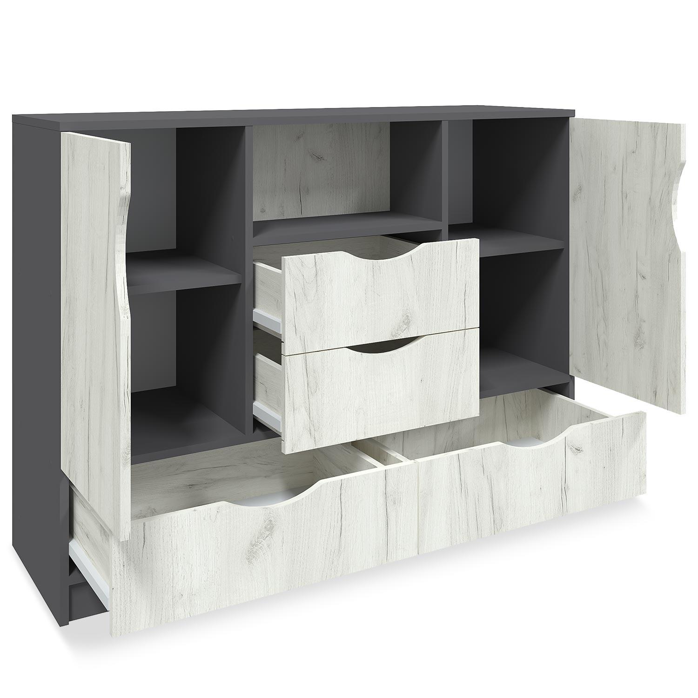 Caradec dressoir 120cm grijs en licht hout