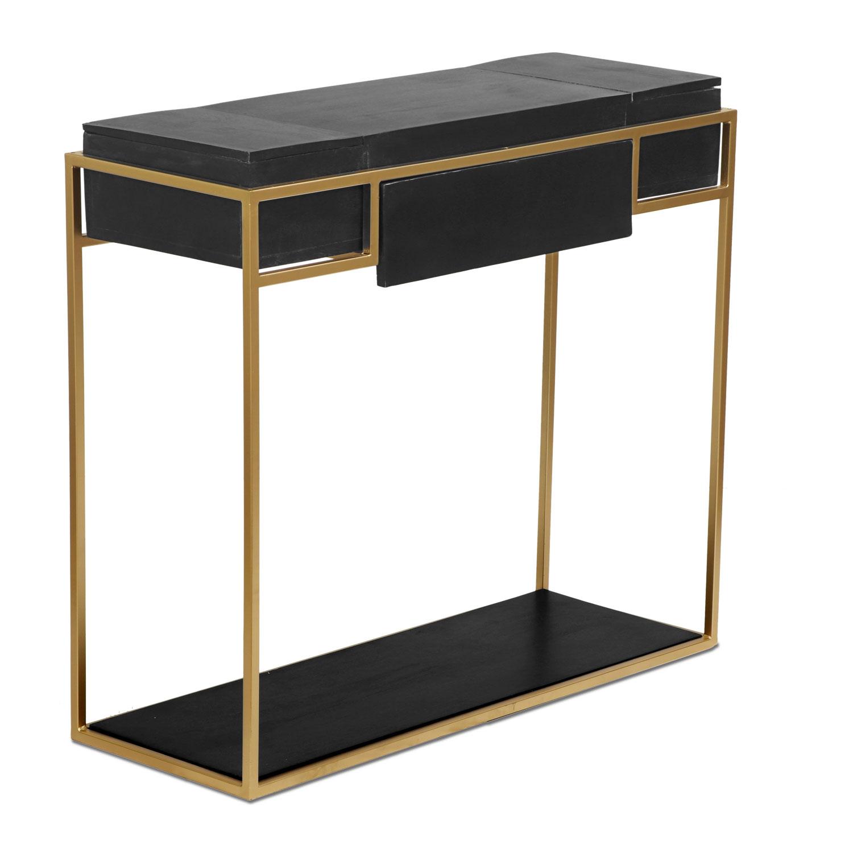 Korma-bureau van zwart hout en goudkleurig metaal