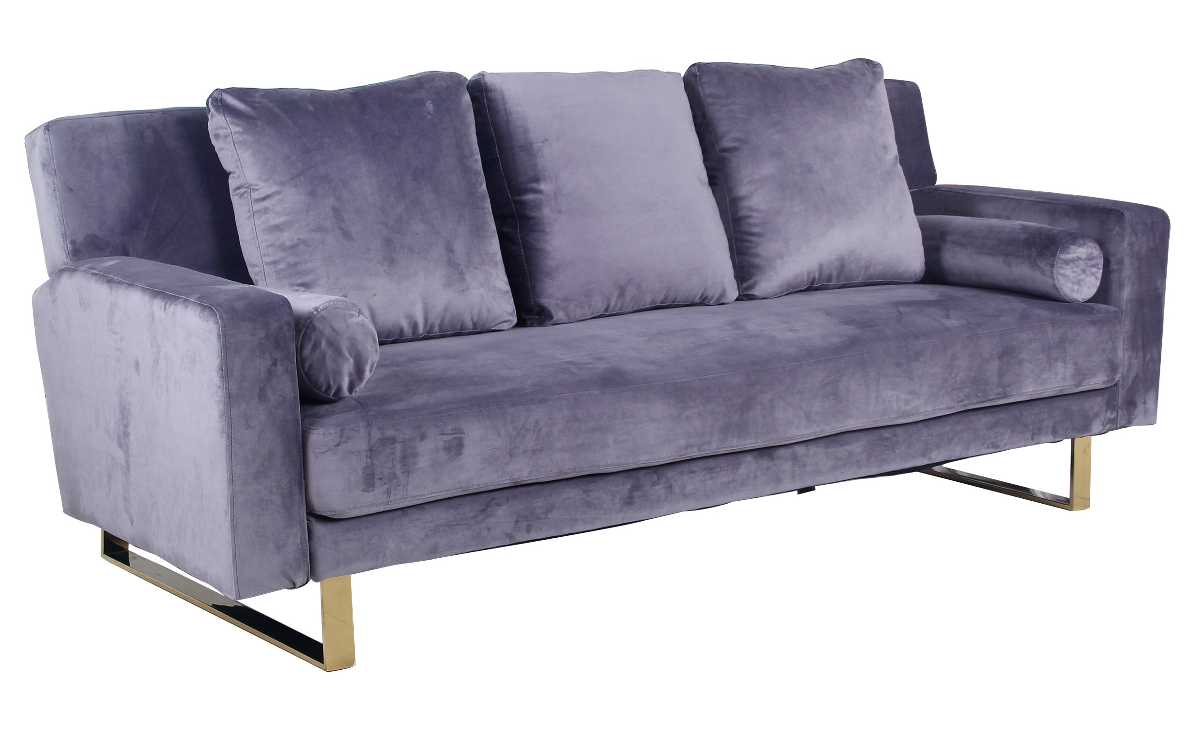 Canapé convertible Moonlight Velours Gris Pied Or