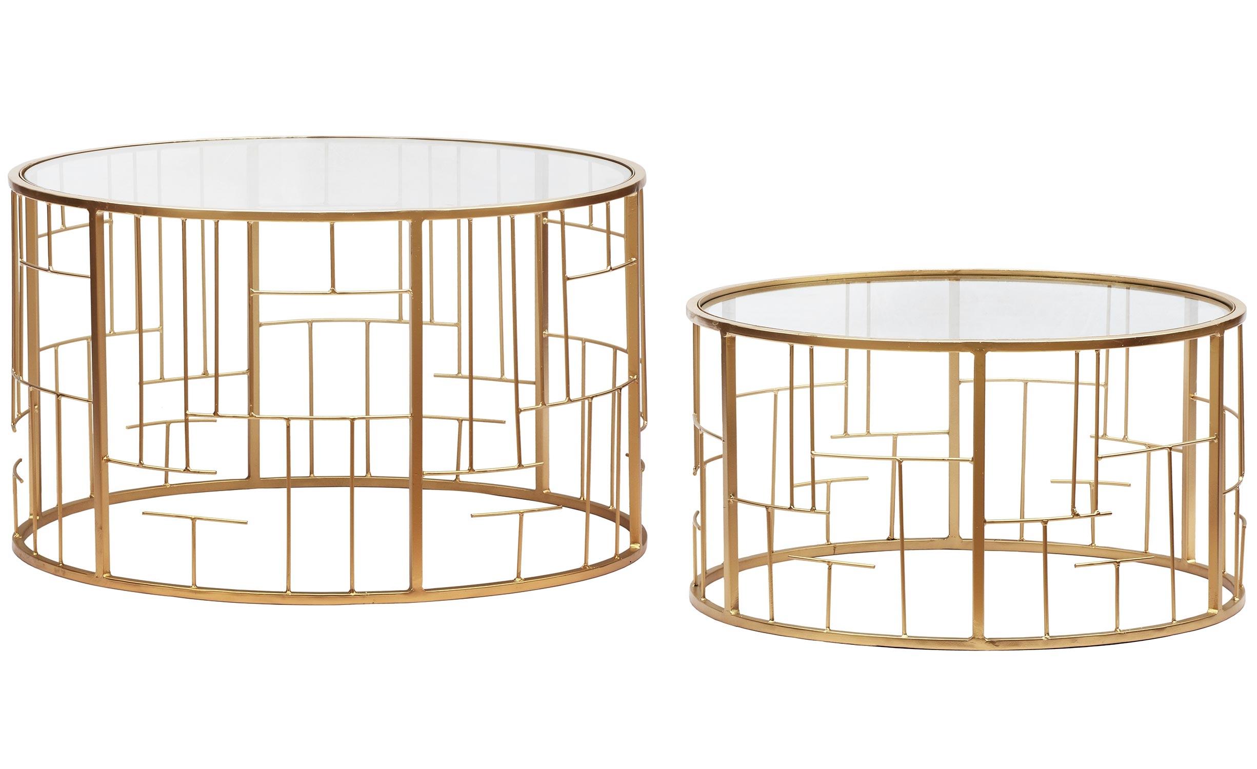 Lot de 2 Tables basses Cantal Transparent et pieds Or