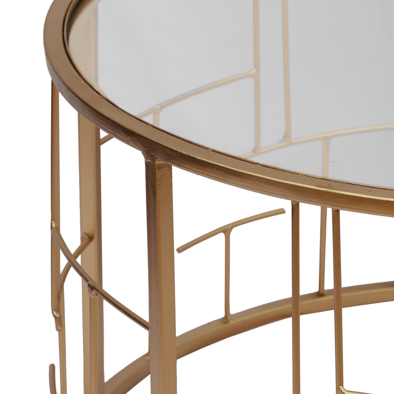 Set van 2 Cantal transparante salontafels en gouden poten