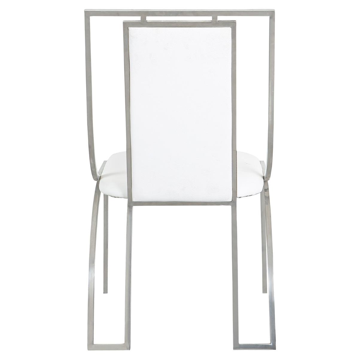 Set van 2 witte Catarina stoelen in PU met zilveren poten