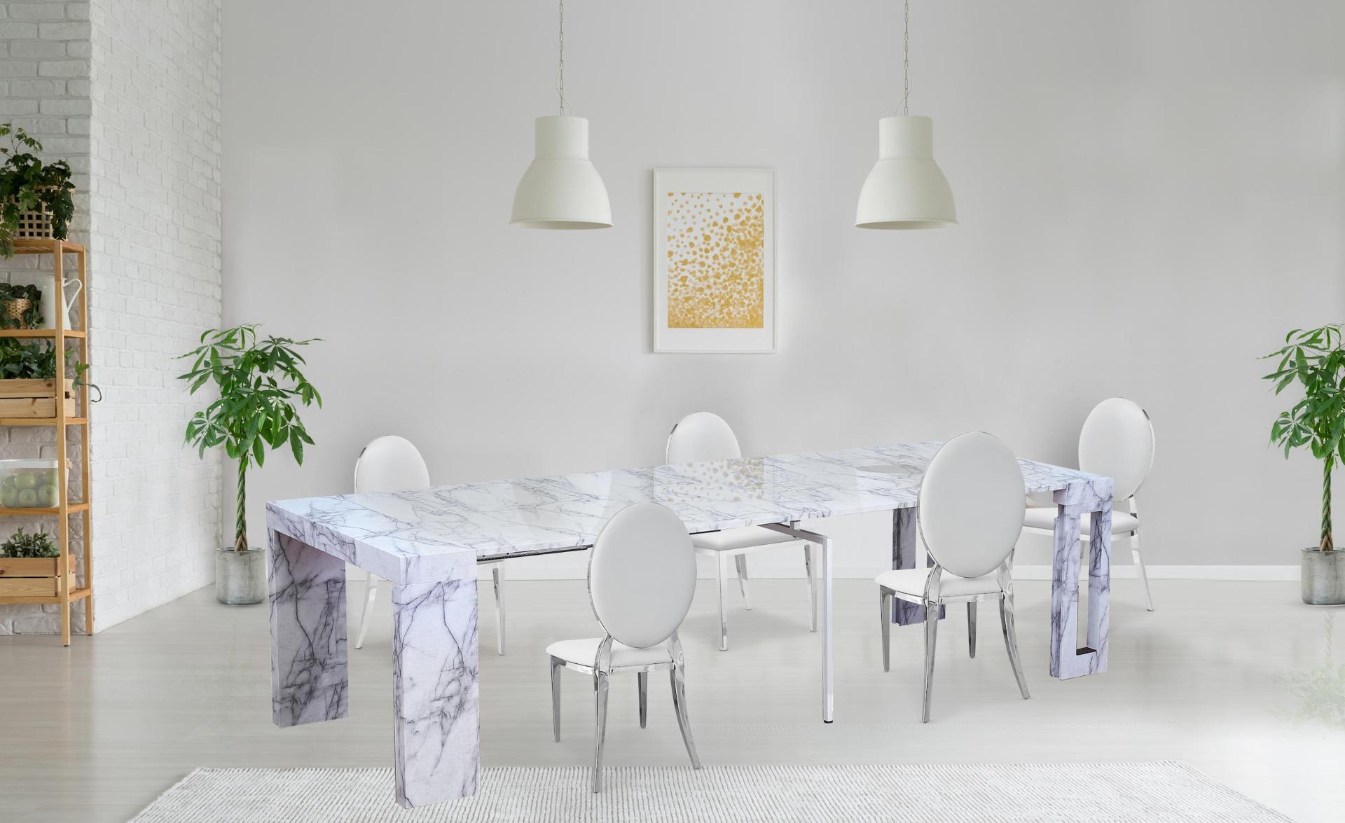 Chay uitschuifbare consoletafel met marmereffect