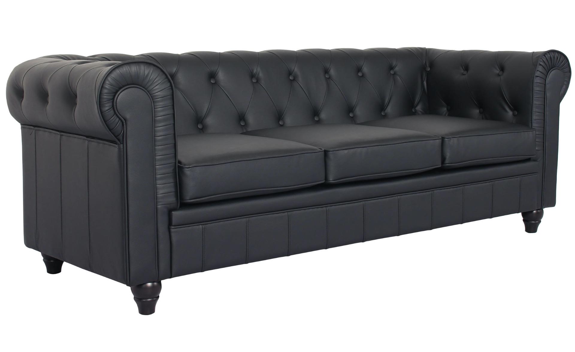 Grote 3-zits Chesterfield Sofa Zwart