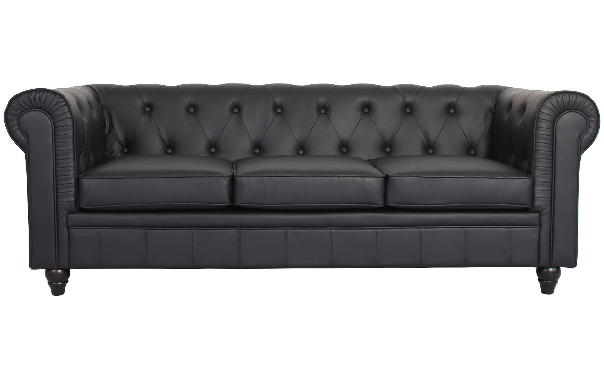 Le véritable canapé Chesterfield 3 places capitonné noir