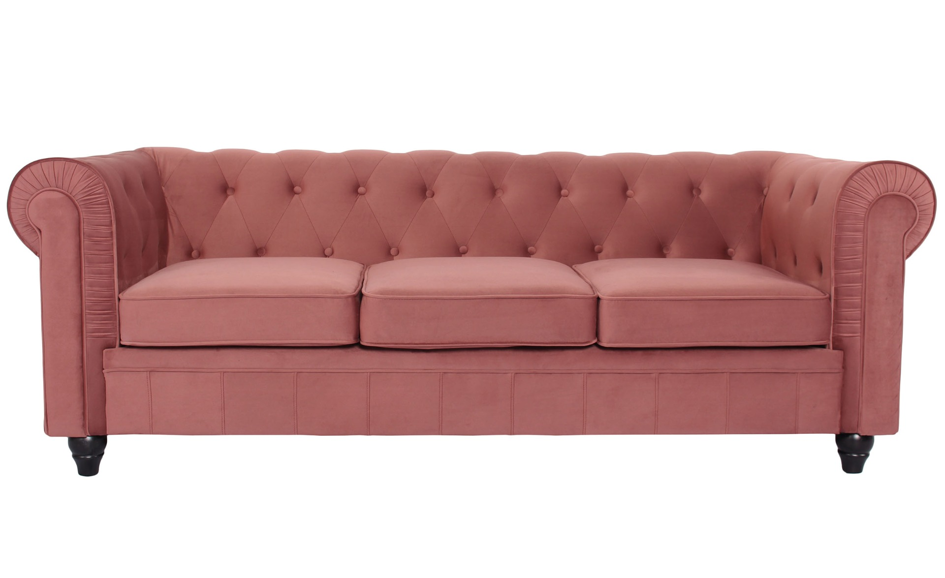 Grand canapé 3 places Chesterfield Velours Rose