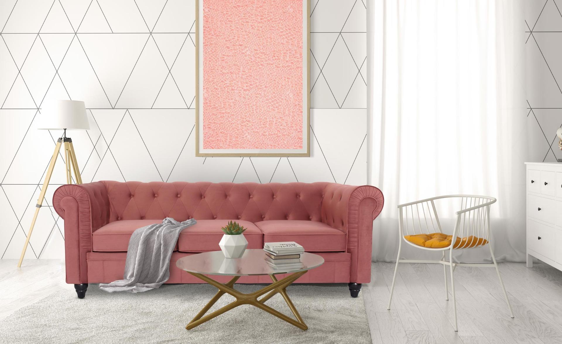 Grote Chesterfield 3-zitsbank roze fluweel