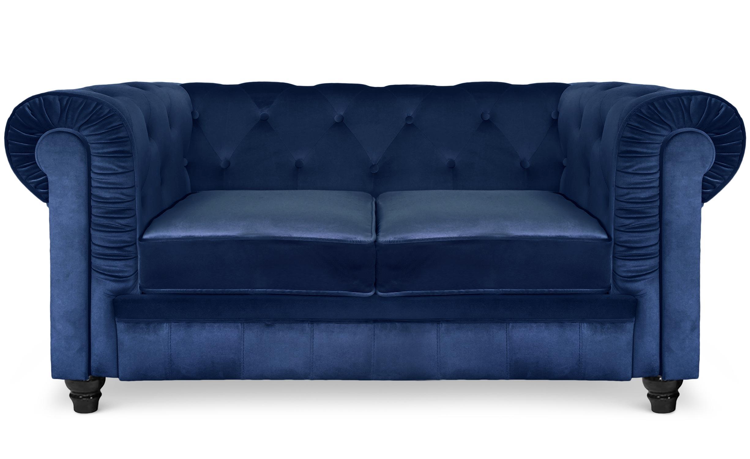 Grote 2-zits Chesterfield blauw fluwelen bank