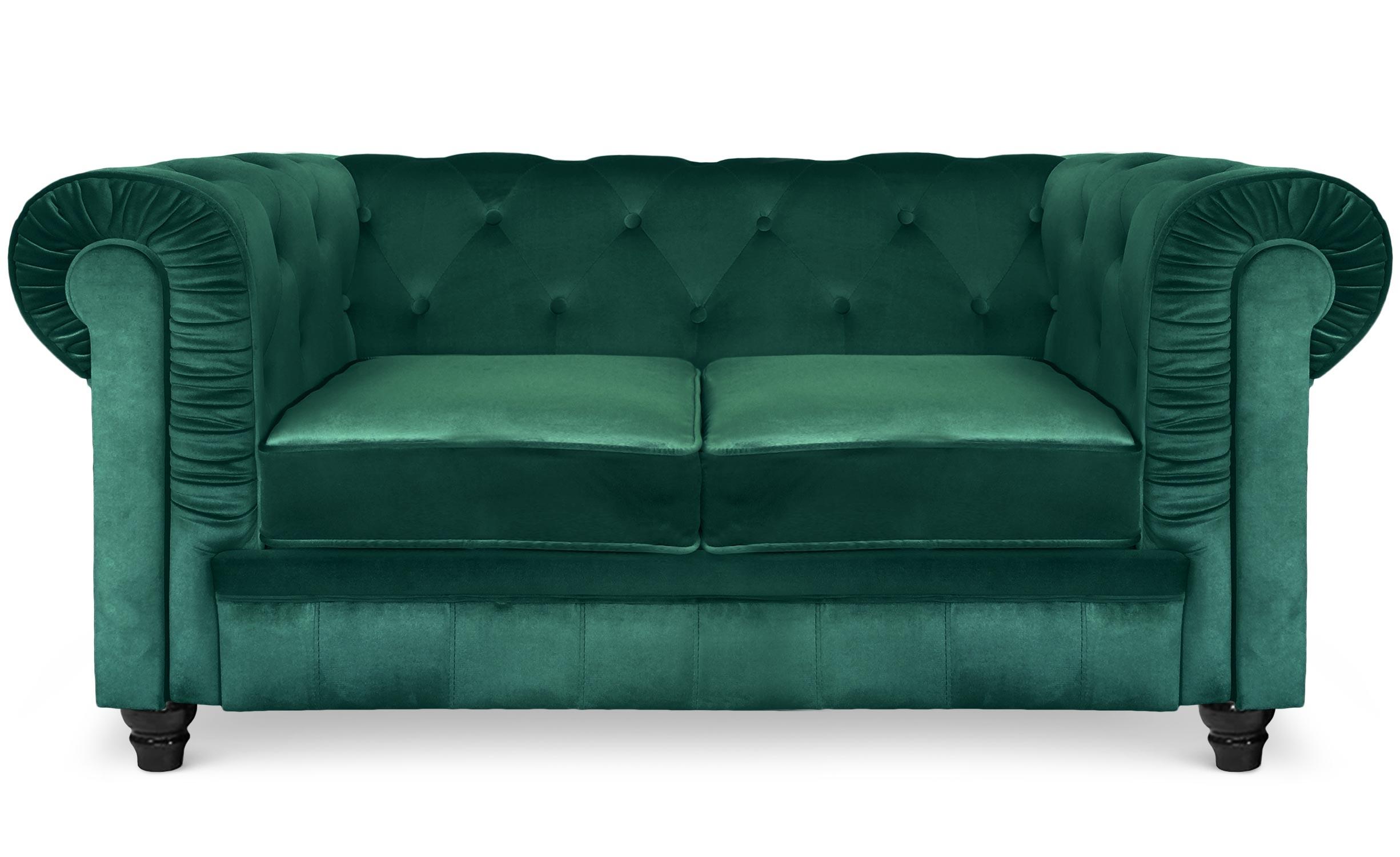 Grote 2-zits Chesterfield-bank van groen fluweel