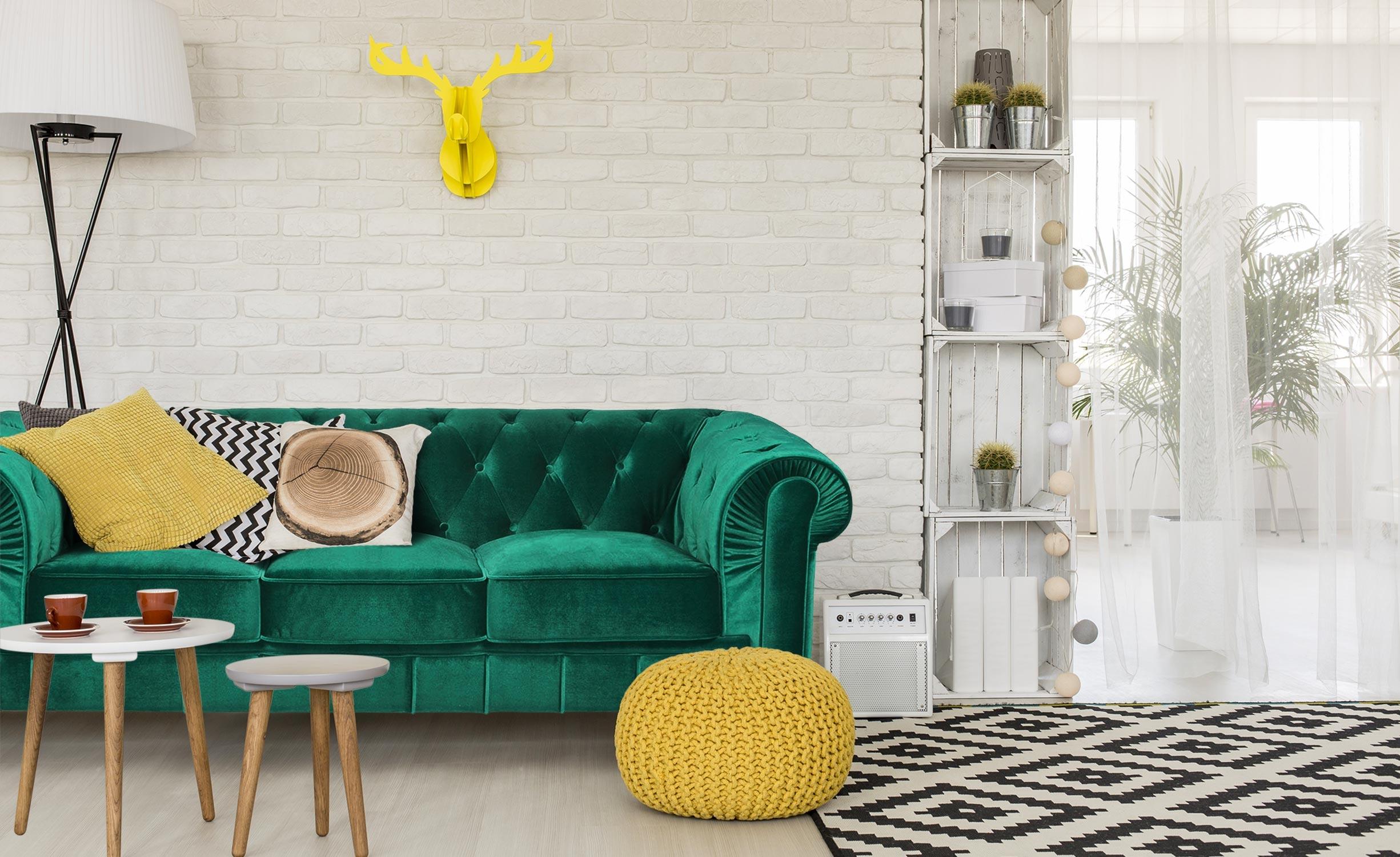 Grote Chesterfield 3-zitsbank van groen fluweel