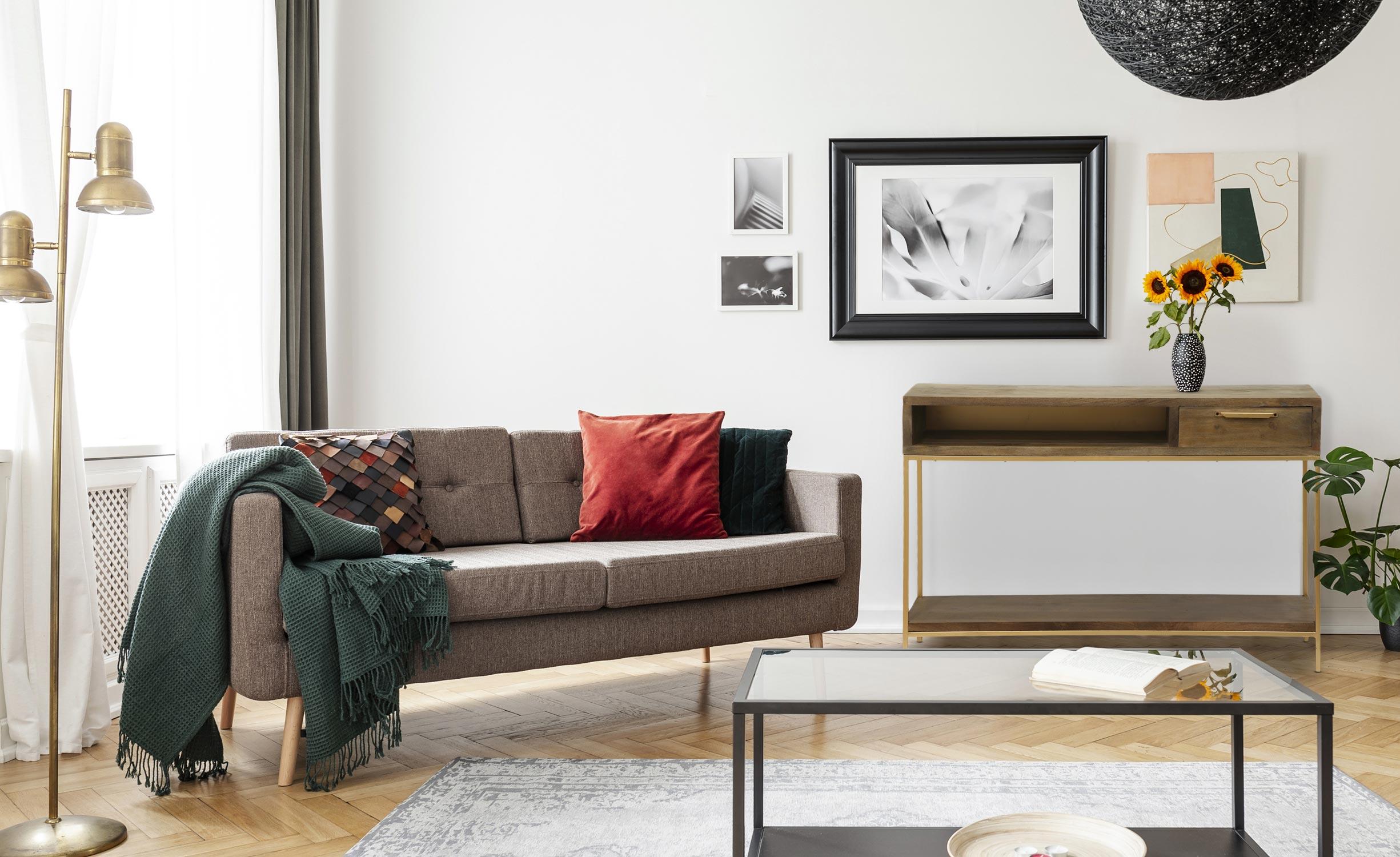 Console Firmin hout en goud metaal