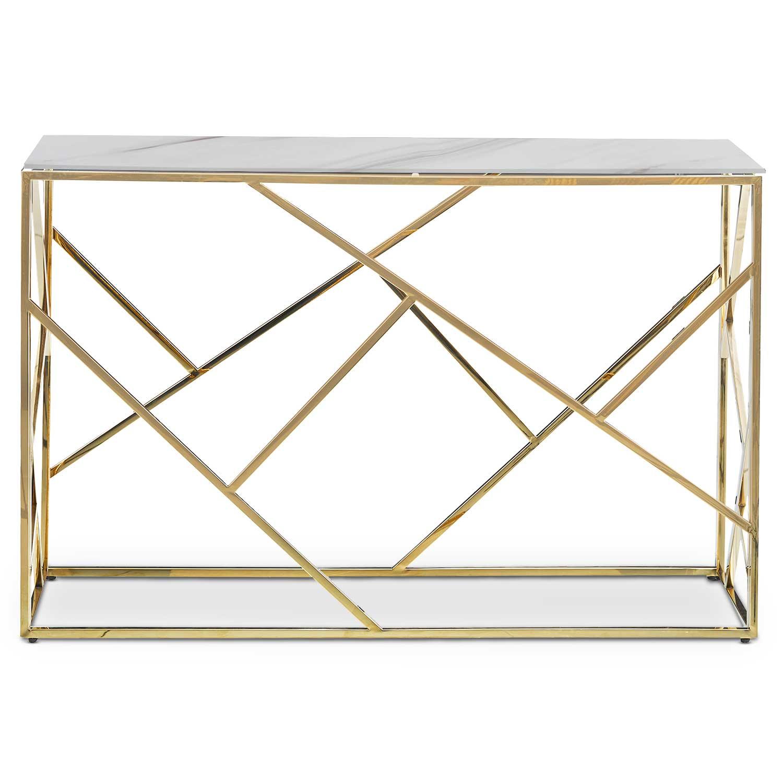 Opéra console in glas met marmereffect en gouden poten