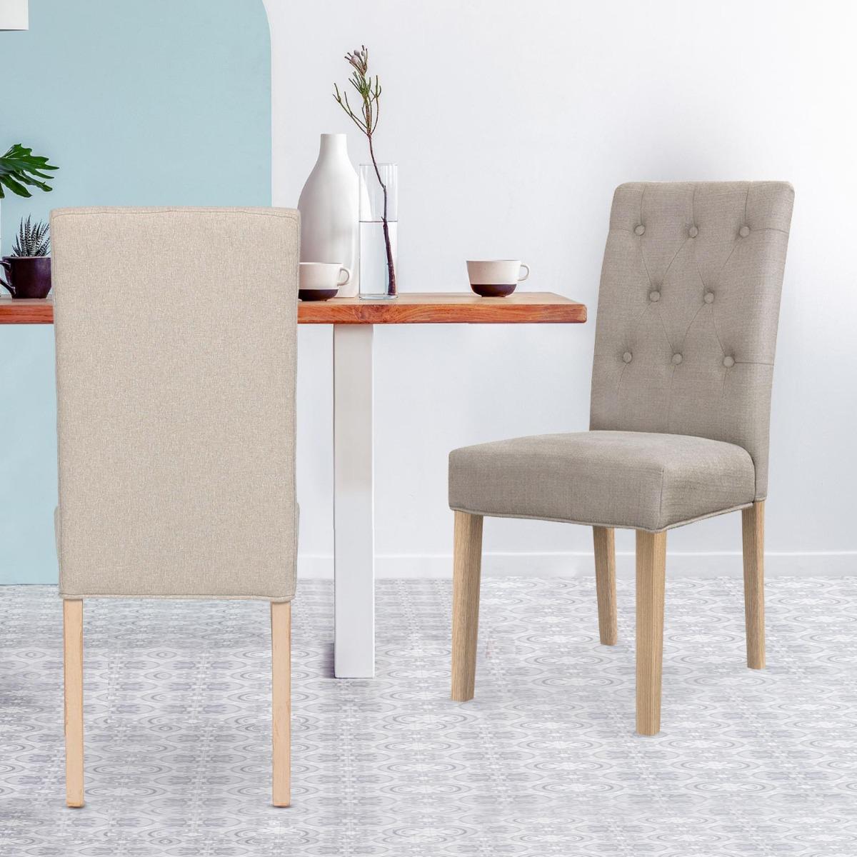 Set van 2 Costel beige stoffen stoelen