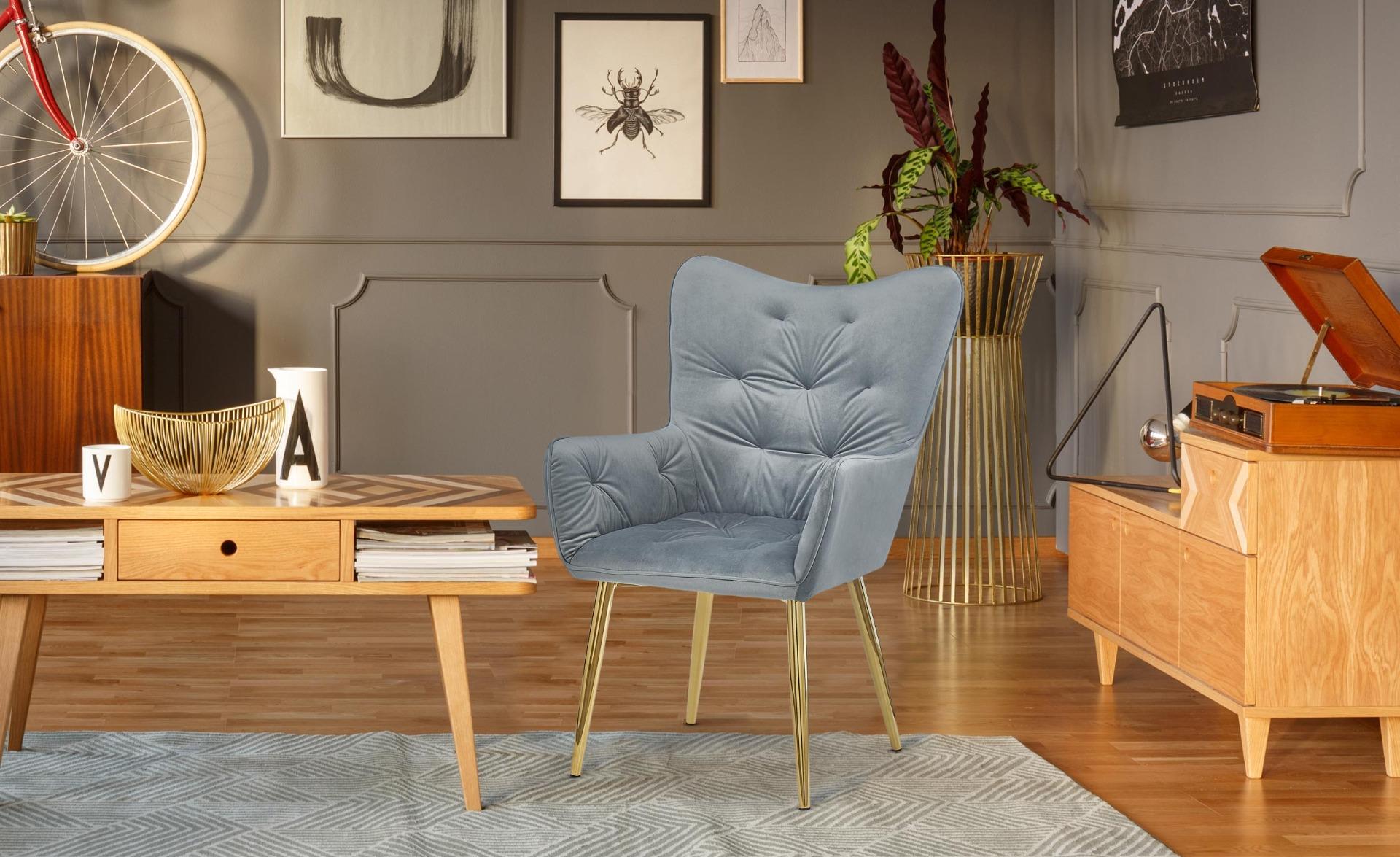 Scandinavische fauteuil Cronin Velvet Silver Gold pootjes
