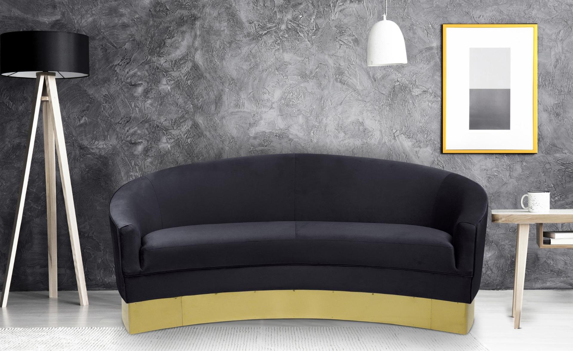 3-zits Curva Sofa Zwart Fluweel Goudkleurige Voeten