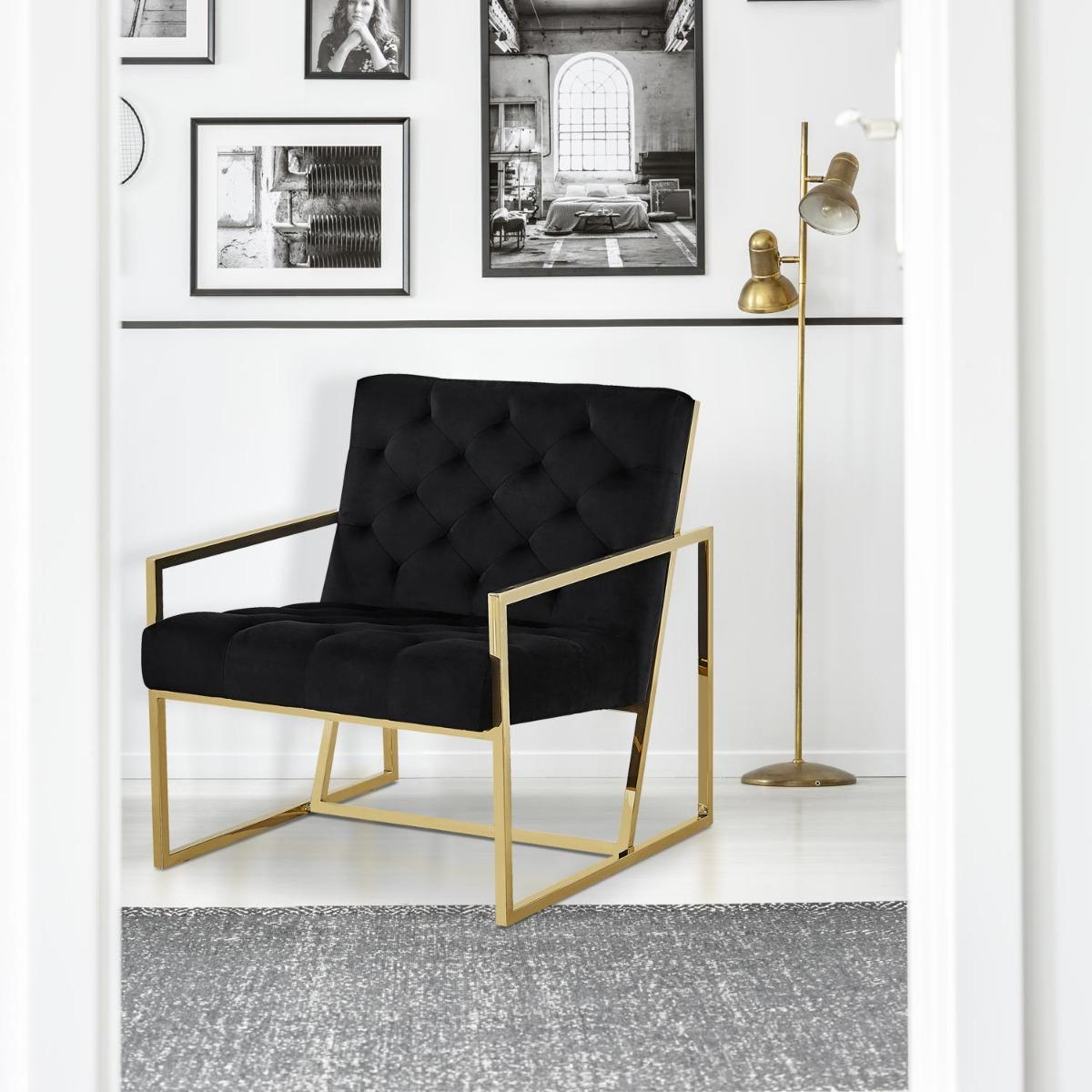 Dallas fauteuil zwart fluweel goud metalen poten