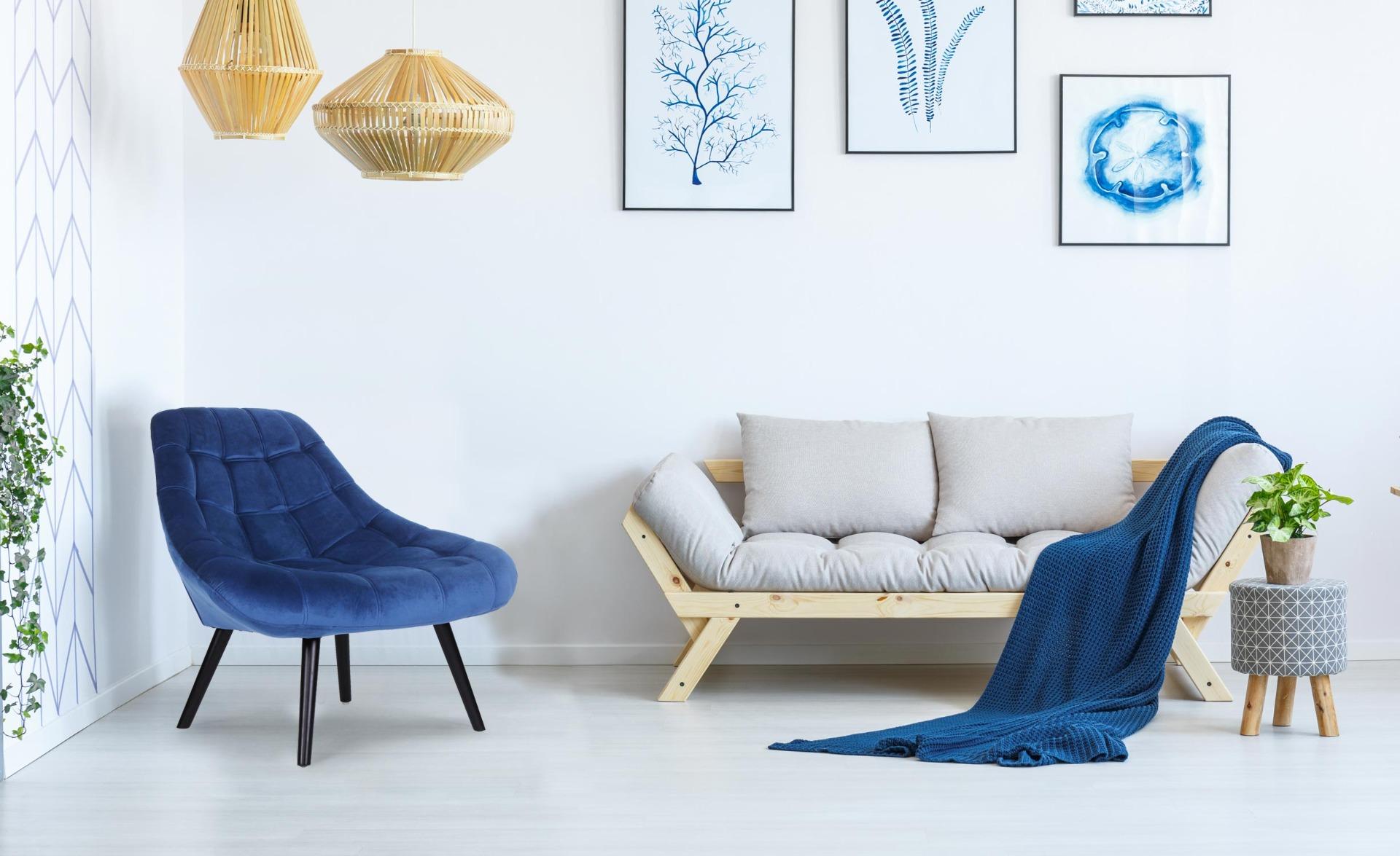 Set van 2 Danios blauw fluwelen fauteuils