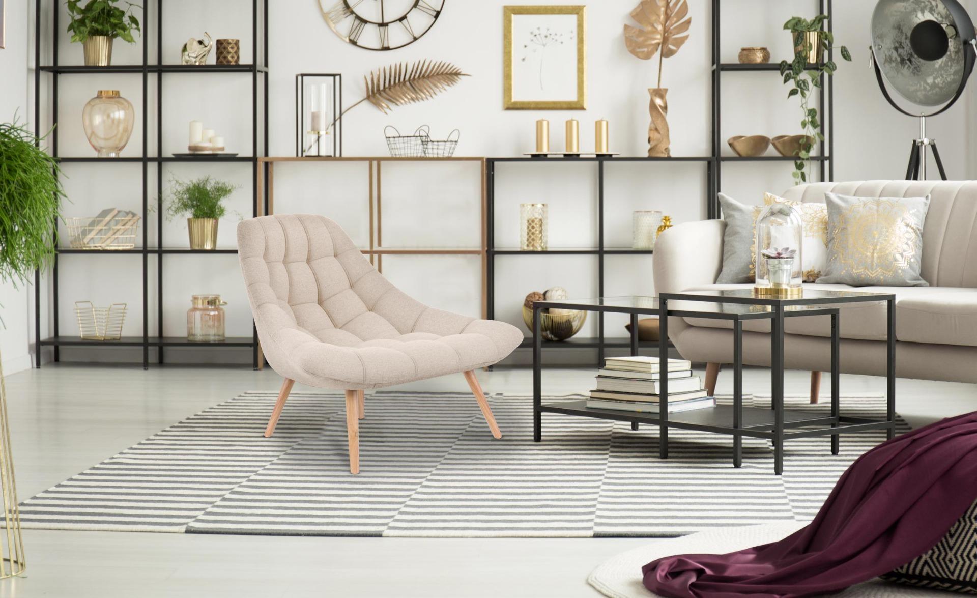 Set van 2 Danios fauteuils in beige stof