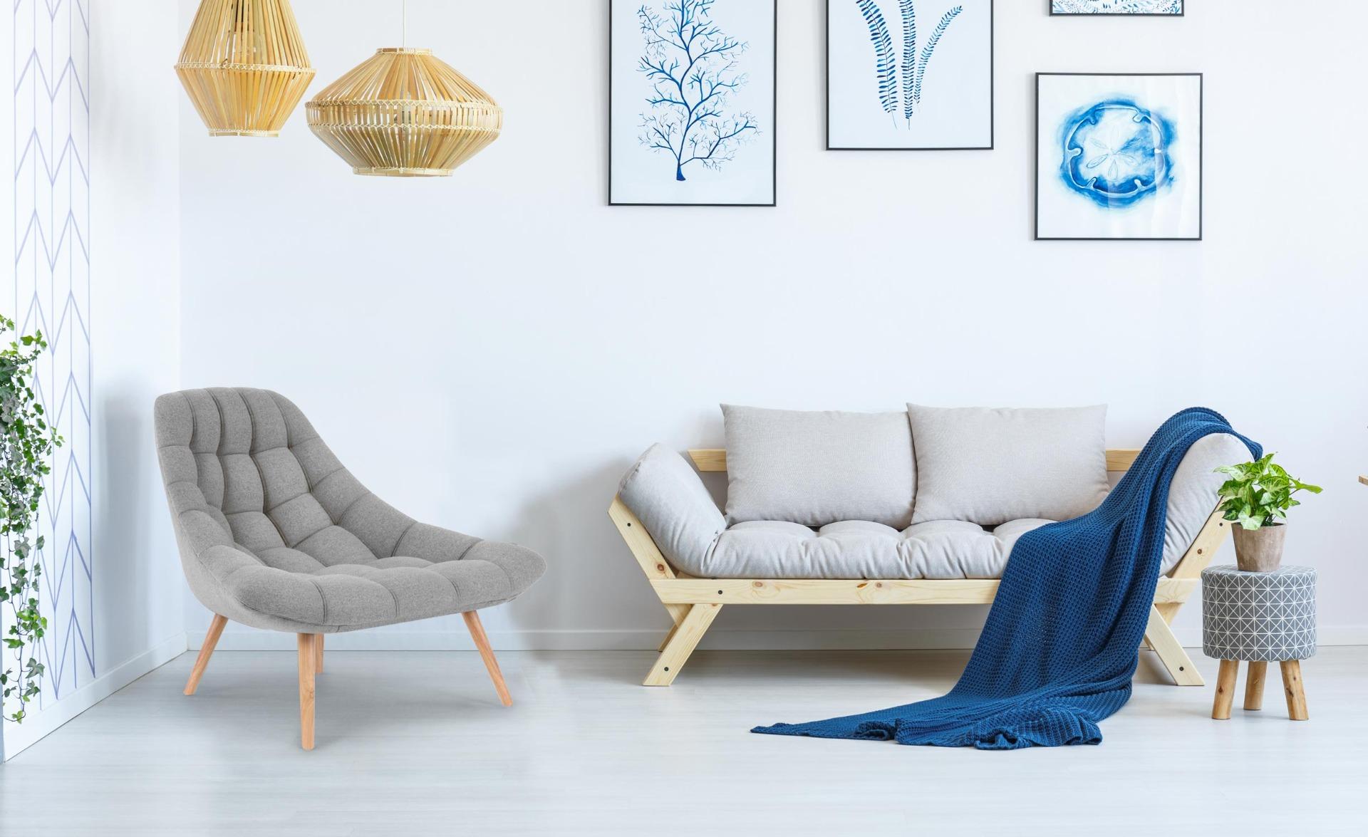 Set van 2 Danios fauteuils in grijze stof