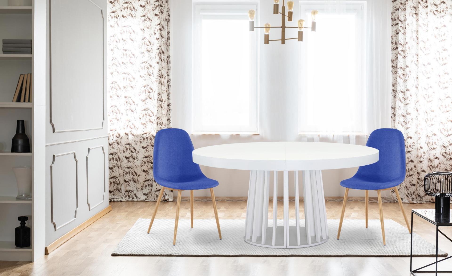 Set van 4 Gao Scandinavische blauwe stoffen stoelen