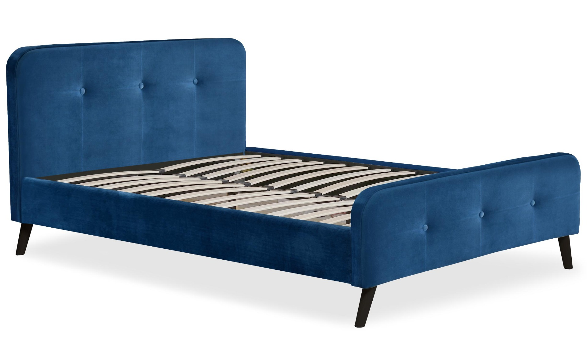 Scandinavisch bed met hoofdeinde en boxspring 140x190cm Delano Blauw Velvet