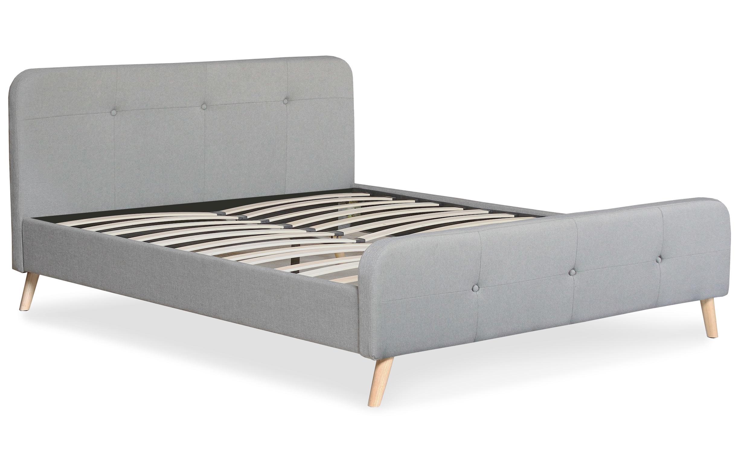 Scandinavisch bed met hoofdeinde en boxspring 160x200cm Delano Grijze Stof