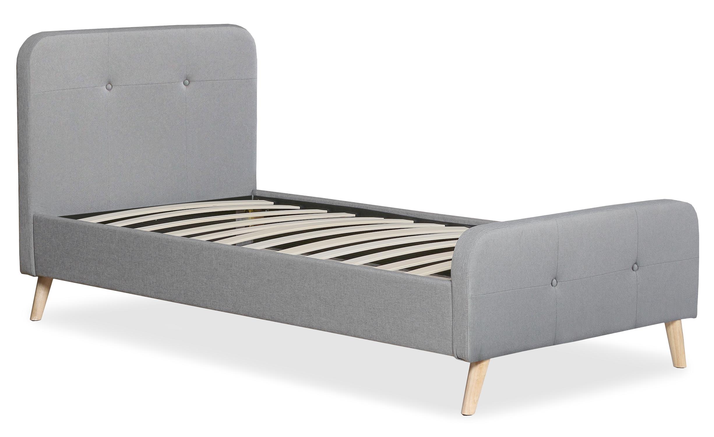 Scandinavisch bed met hoofdeinde en boxspring 90x190cm Delano Grijze Stof