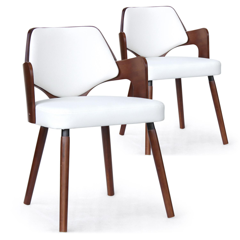 Lot de 2 chaises scandinave Dima Bois Noisette et Blanc