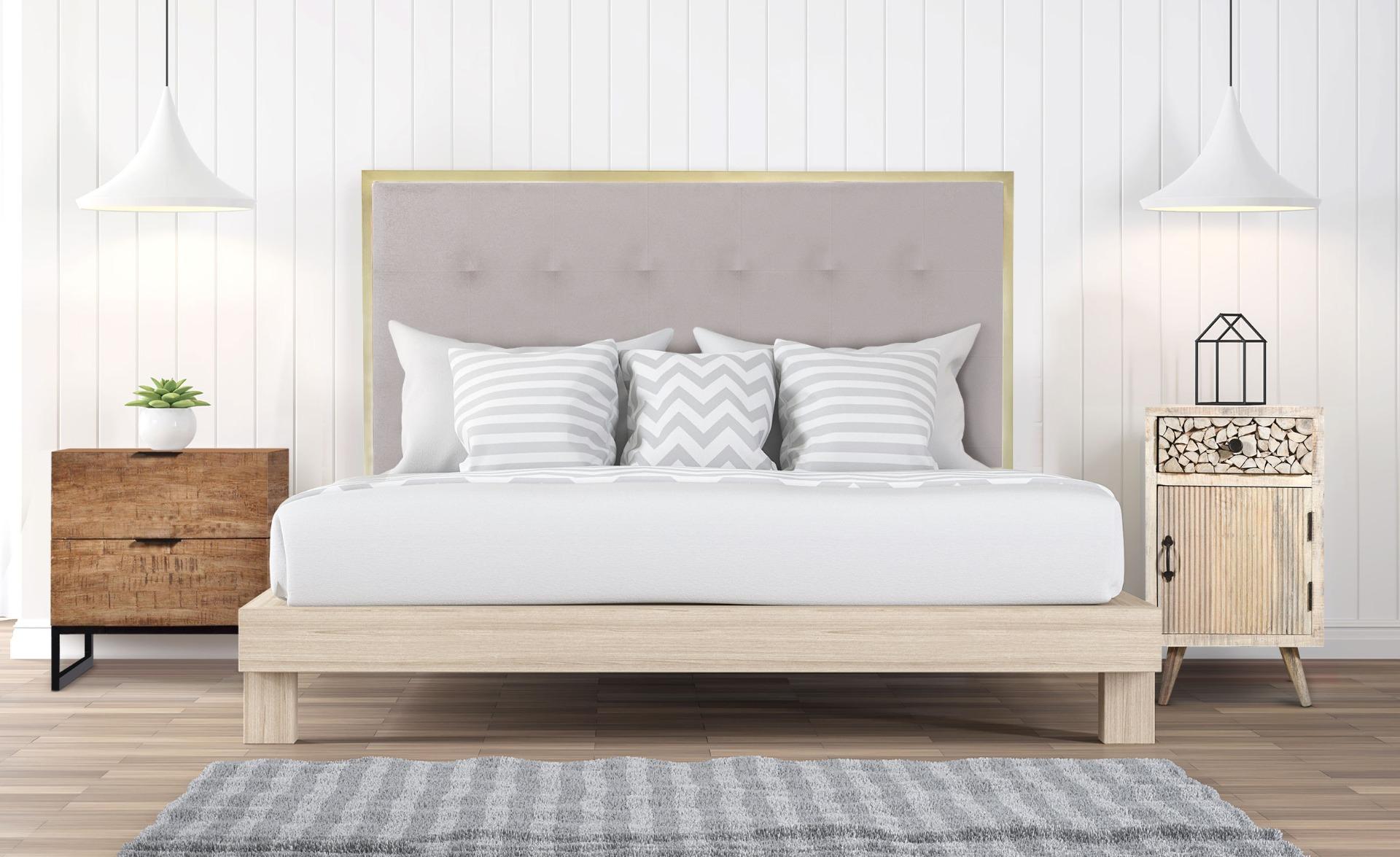 Tête de lit Donna 140 cm Métal Or et Tissu Beige
