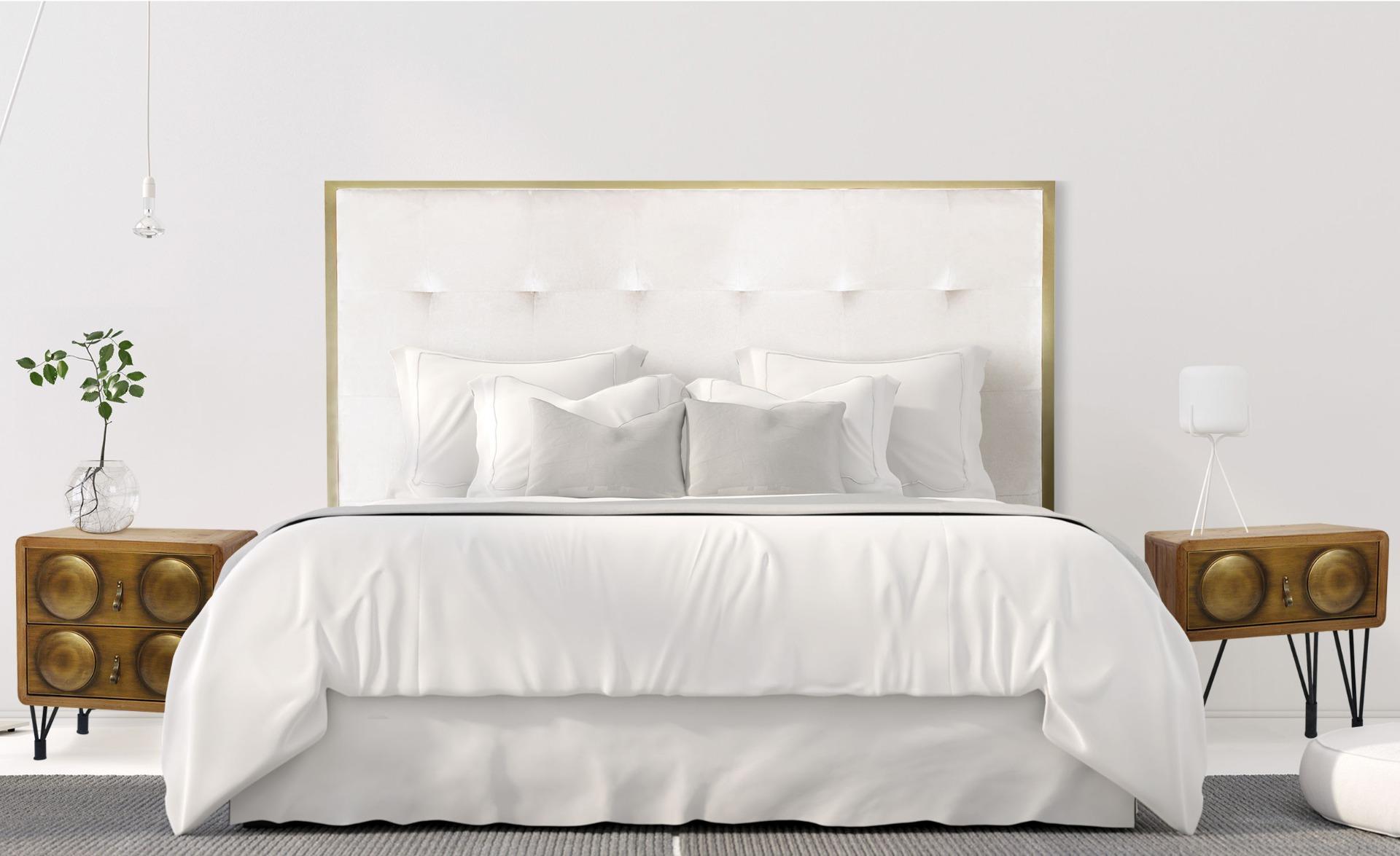 Tête de lit Donna 140 cm Velours Blanc