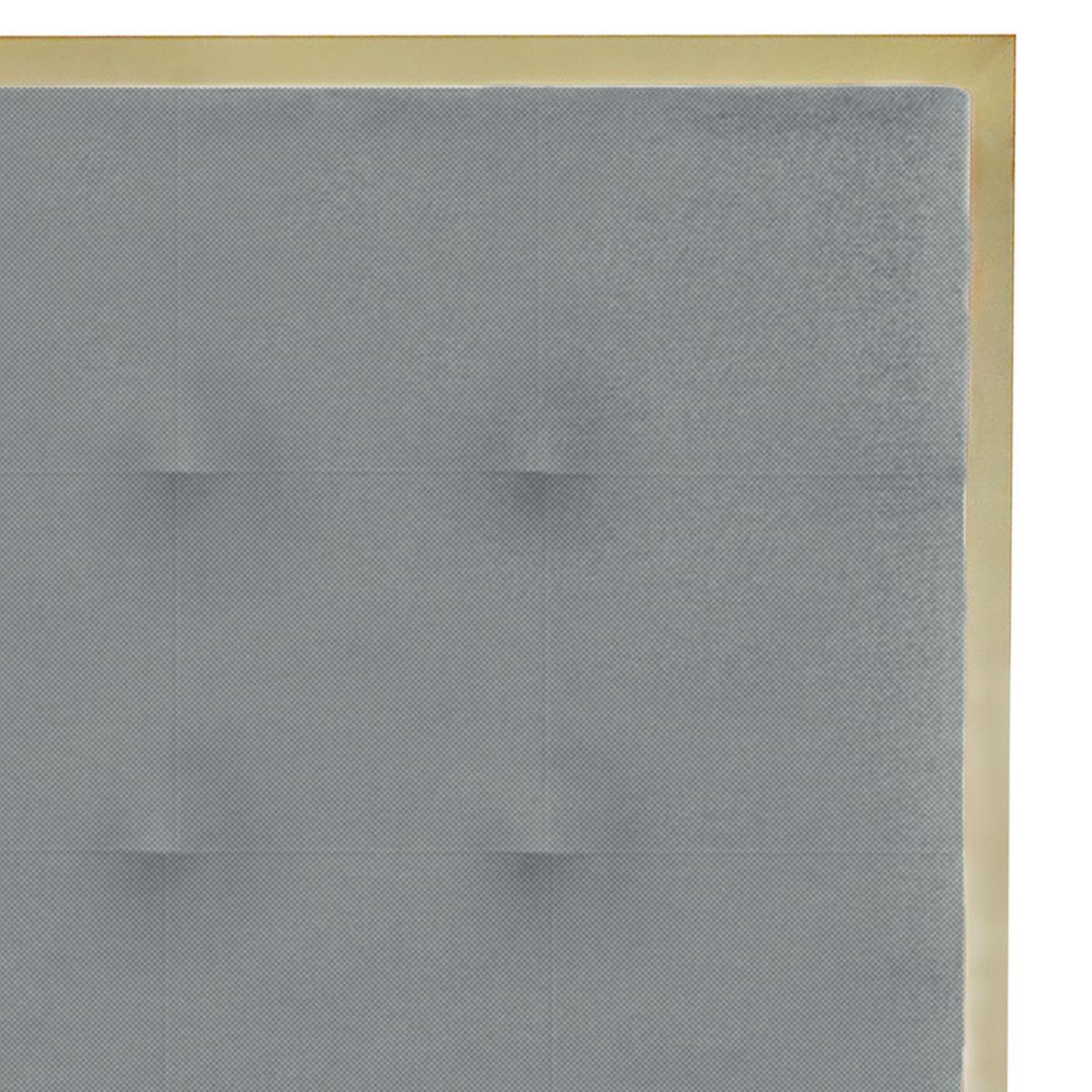 Hoofdeinde Donna 160 cm van goudkleurig metaal en lichtgrijze stof