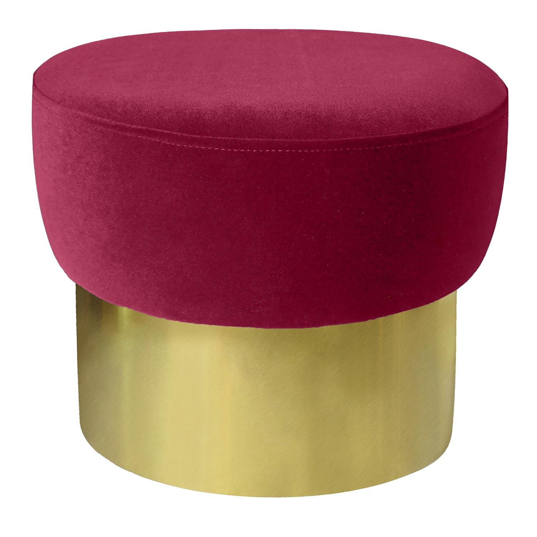 Tabouret Elia Velours Rouge Pied Or