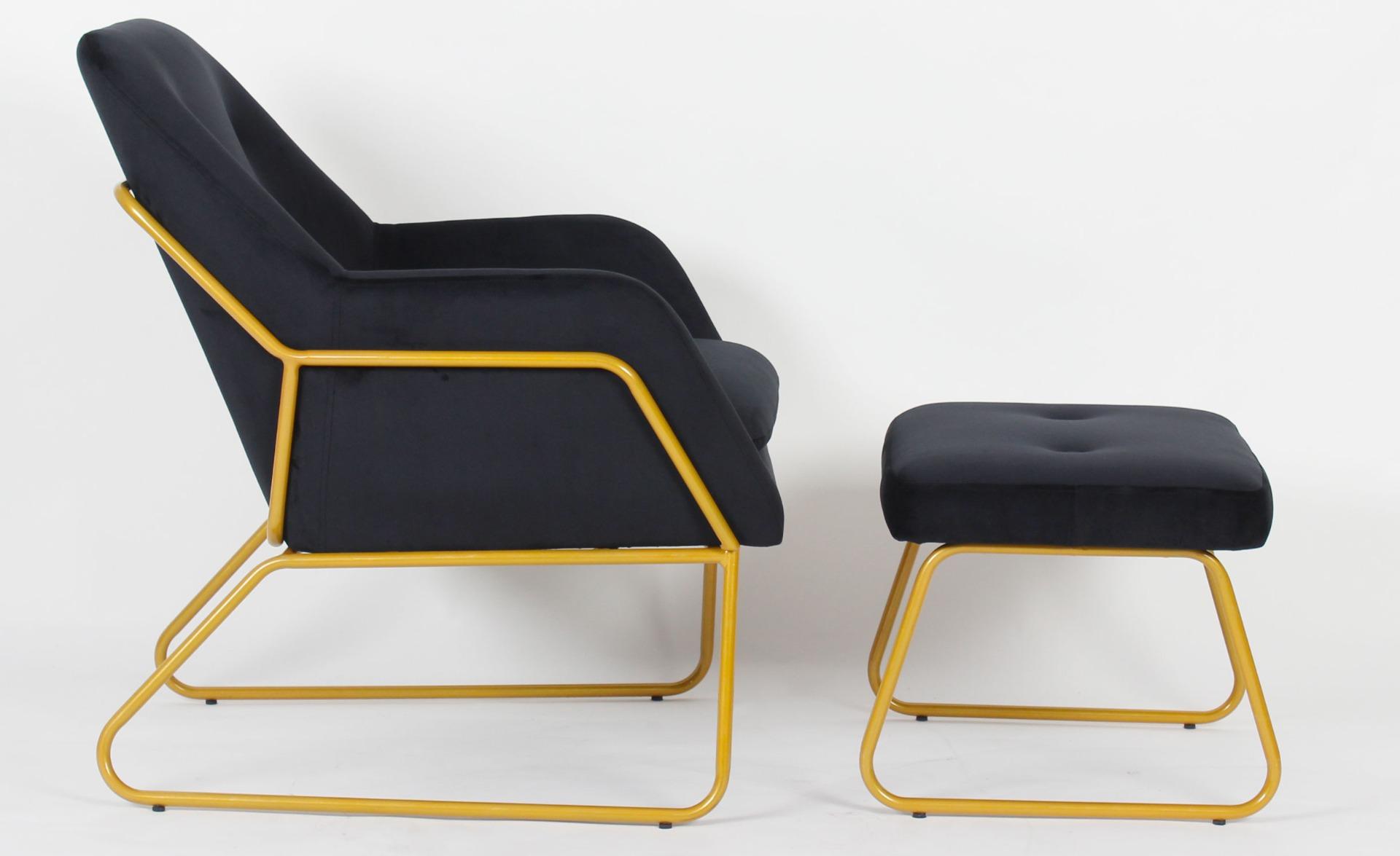 Eloi zwart fluwelen fauteuil + voetenbank