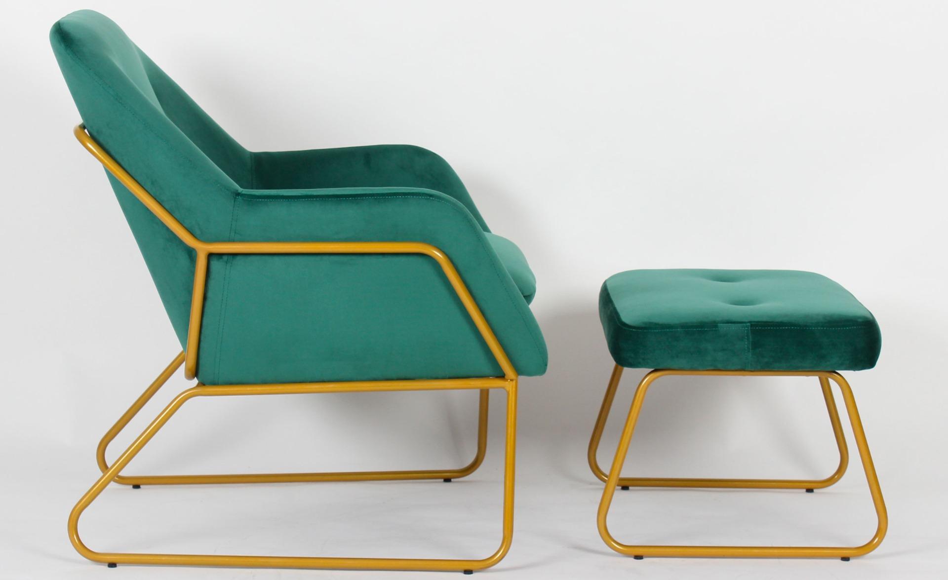 Eloi Green Velvet Fauteuil + Ottoman