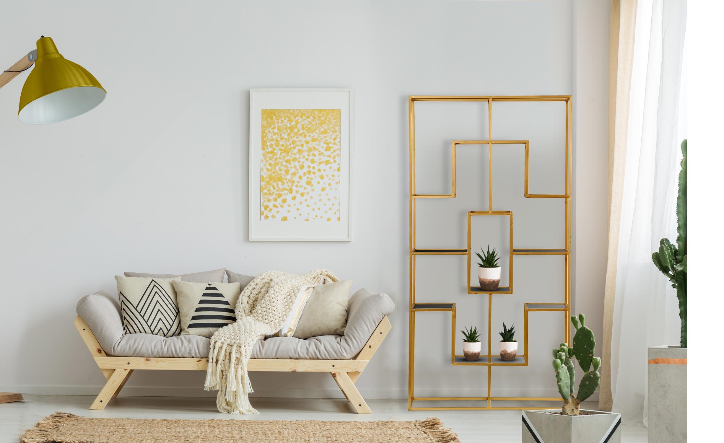Barad-plank van glas en goudkleurig metaal