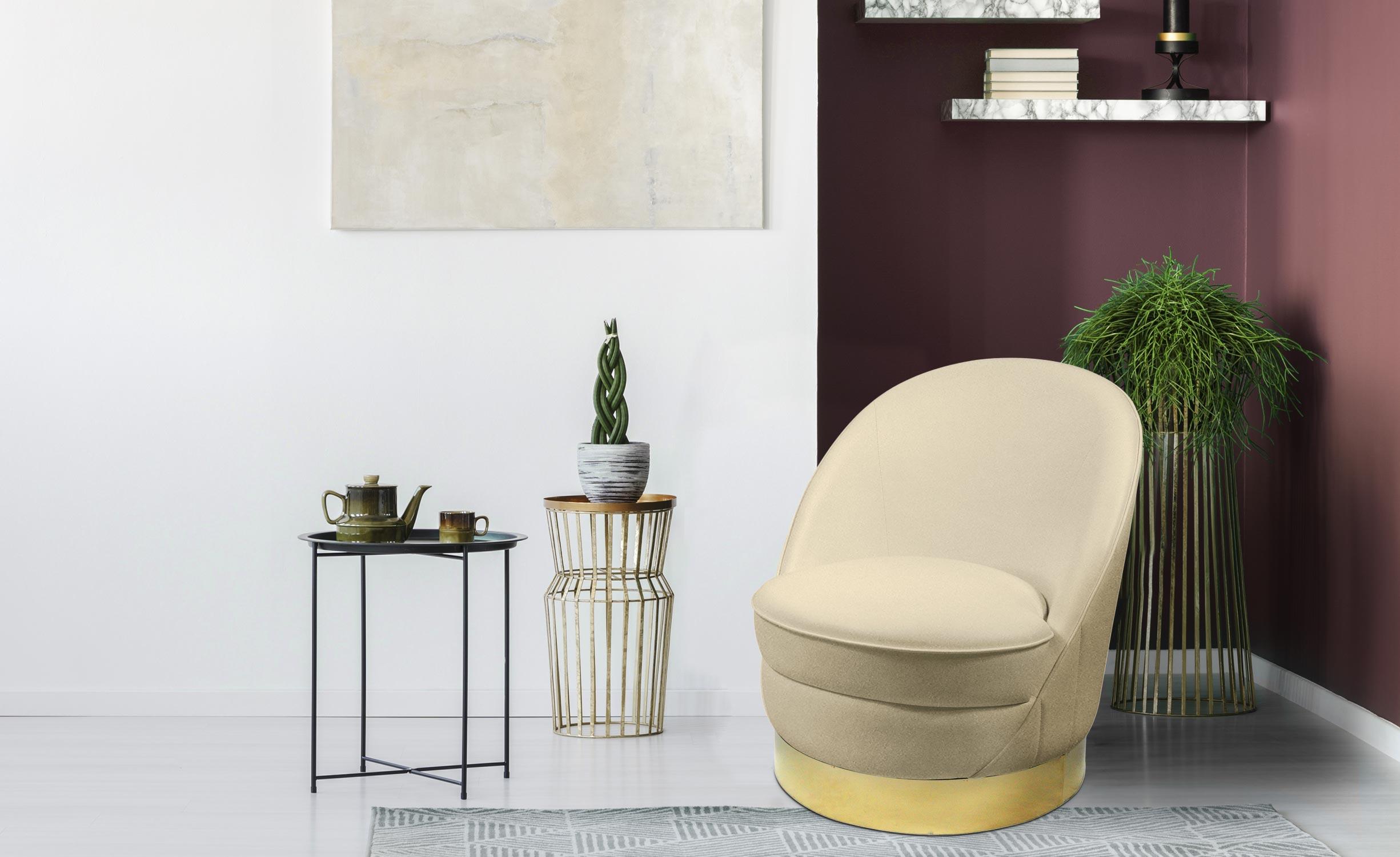 Aristy ronde fauteuil beige fluweel