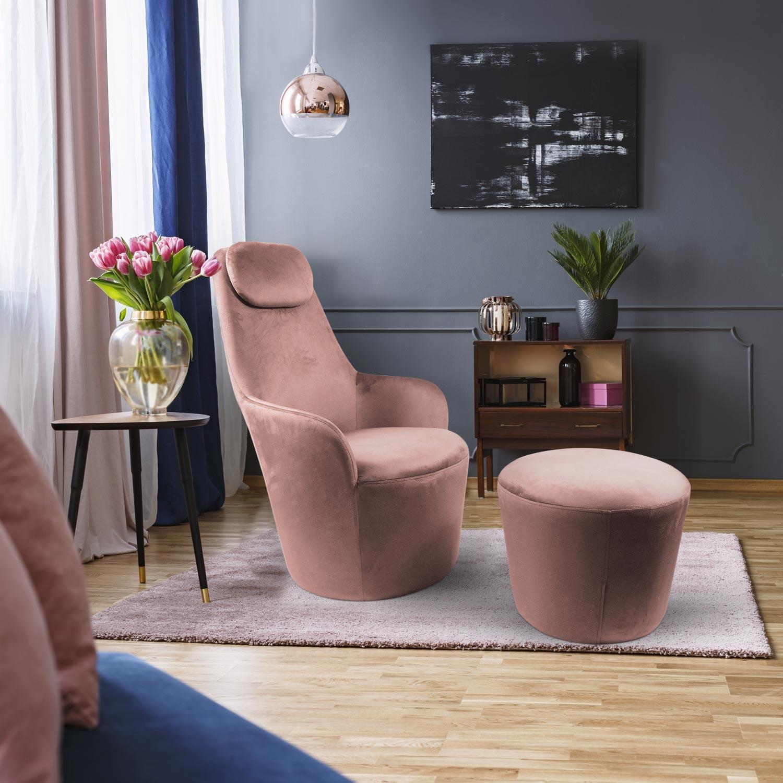 Dongal fauteuil met roze fluwelen voetenbank
