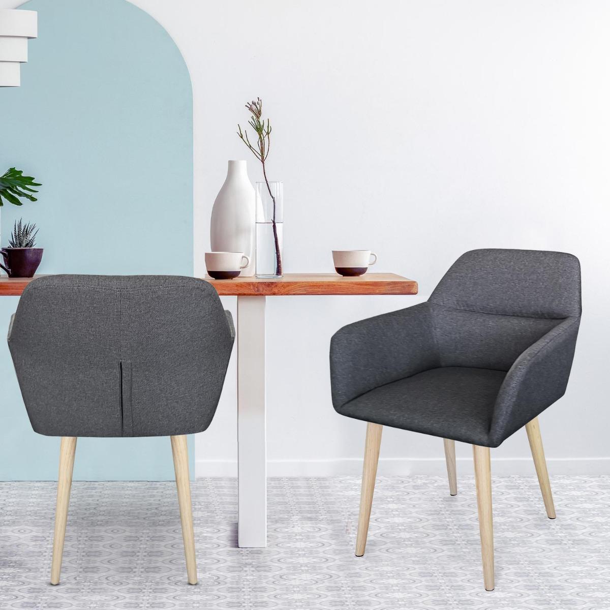 Scandinavische Fraydo stoel / fauteuil donkergrijze stof