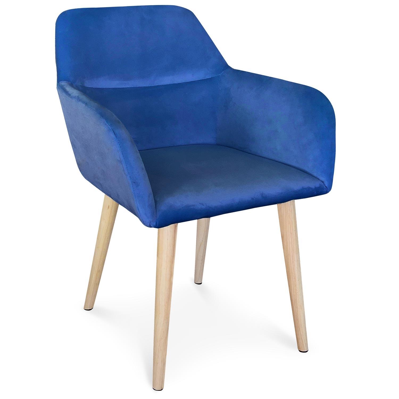 Chaise / Fauteuil scandinave Fraydo Velours Bleu