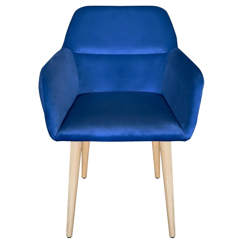 Scandinavische Fraydo Blauw Velvet stoel / fauteuil