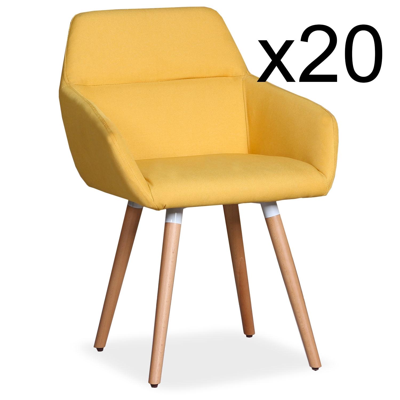 Lot de 20 chaises / Fauteuils scandinaves Frida Tissus Jaune