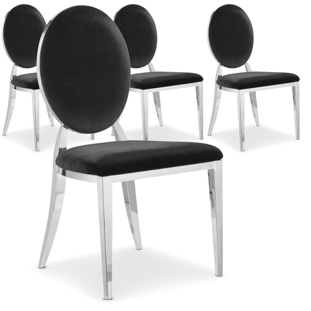 Lot de 4 chaises Sofia revêtement velours Noir