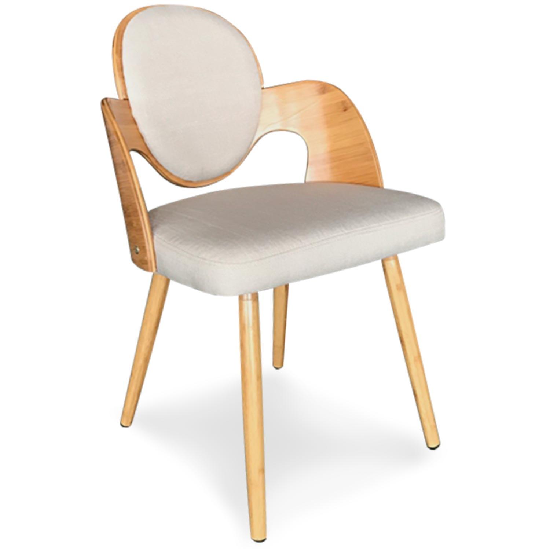 Set van 2 Scandinavische Galway stoelen in natuurlijk hout en beige stof