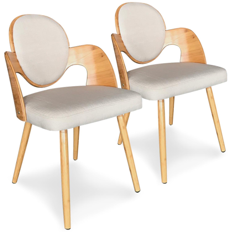 Lot de 2 chaises scandinaves Galway Bois Naturel Et Tissu Beige