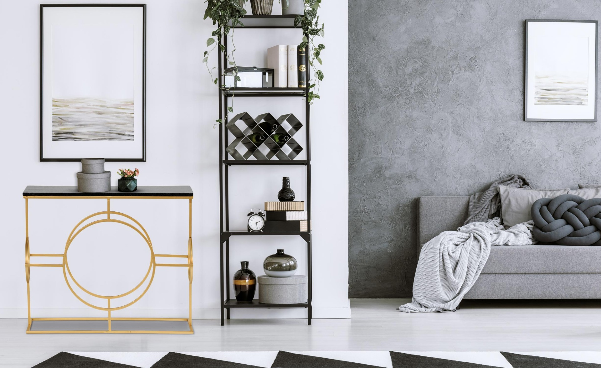 Gatsby design console in zwart marmer en goud metaal