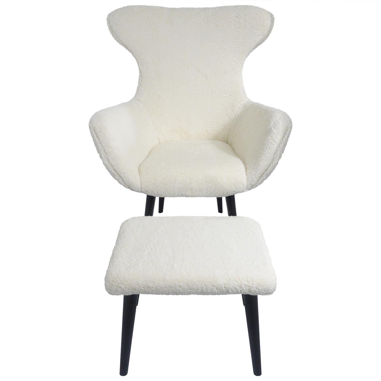 Geoplus fauteuil + Ottomaanse crèmekleurige stof met schapenvachteffect