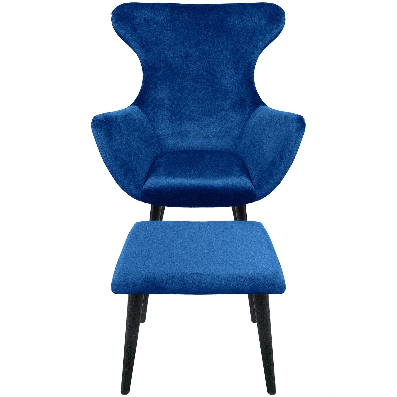 Geoplus blauw fluwelen fauteuil + voetenbank