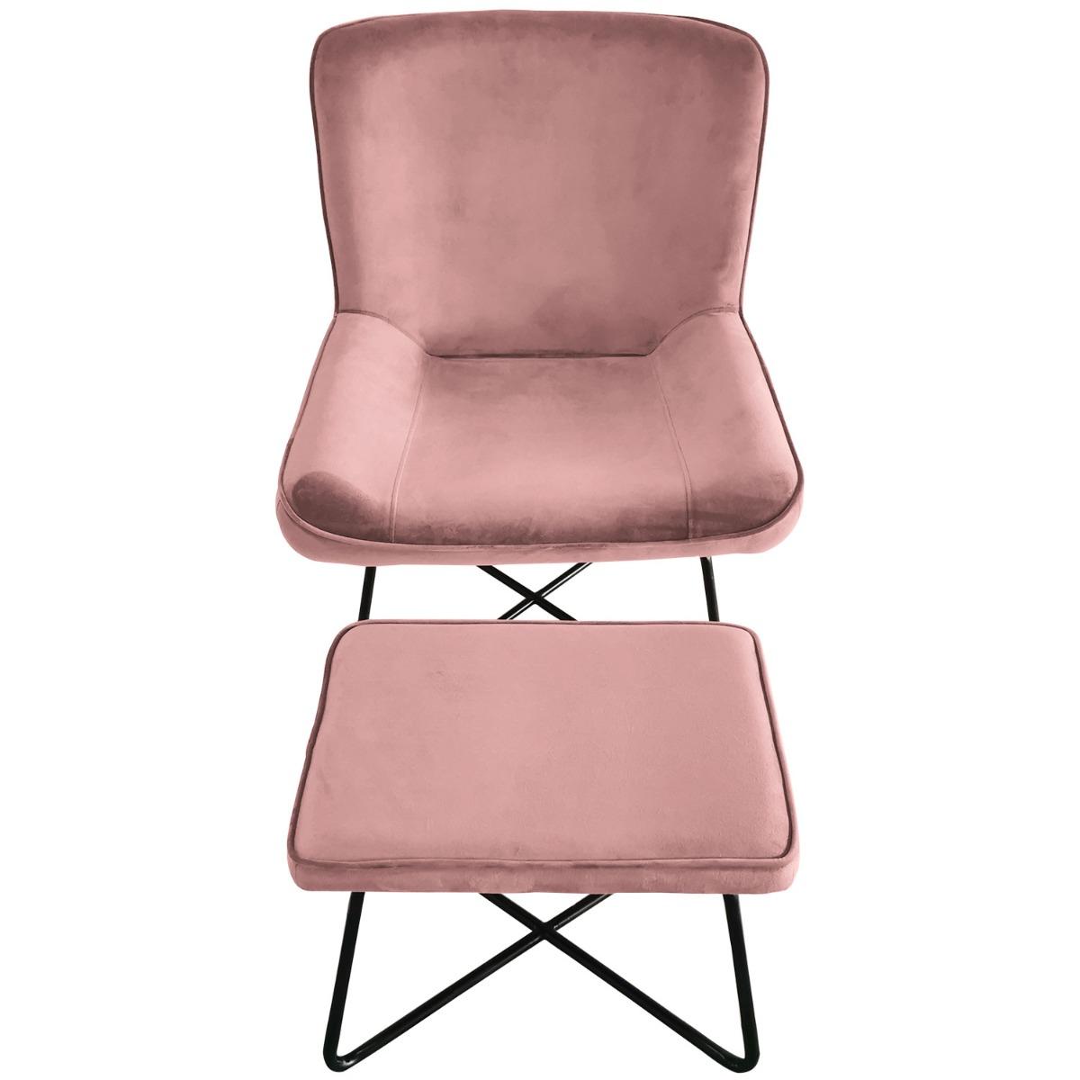 Fauteuil + voetenbank Georgie Velvet Pink