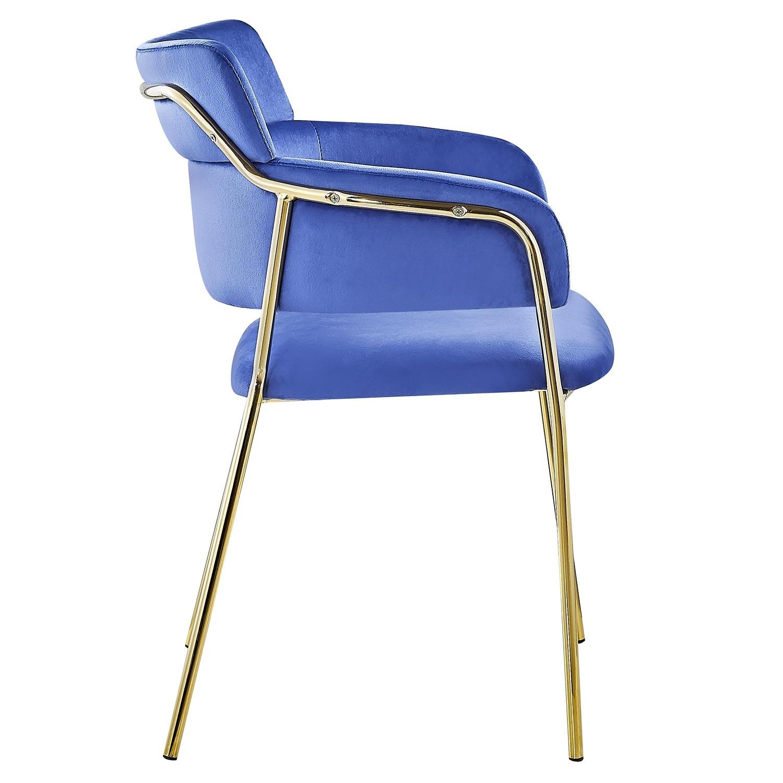 Set van 2 Ginko Velvet blauwe stoelen / fauteuils