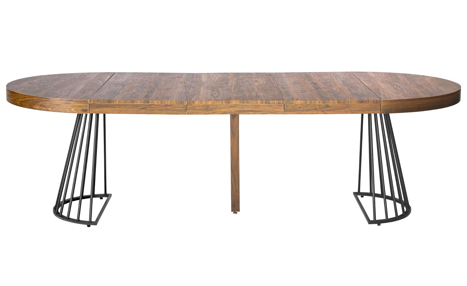 Uitschuifbare ronde tafel Grivery Wood Hazelnut zwarte poten